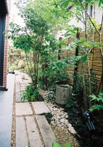 御簾垣前のつくばいと延石。雑木と組み合わせて自然な雰囲気に。